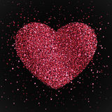Poster with heart from red and pink confetti, sparkles, glitter. Happy Valentines Day on black background. Poster with heart from confetti, sparkles, glitter Stock Illustration