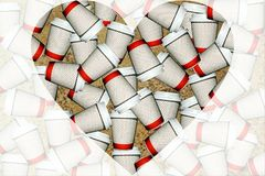 Coffee cups. Poster with heart shape coffee cups on the go Stock Photos