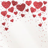 Poster with hearts from red confetti, sparkles, glitter and place for text on white background. Poster with hearts from red confetti dus, sparkles and place for Royalty Free Illustration