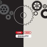 Poster about high and low quality. Poster with gears for high and low quality Stock Photo