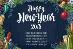 Poster horizontal Happy New Year calligraphy lettering with salute Stock Photos