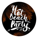 Poster hot beach party In a black circle with palm trees. Design elements. Vector illustration. Stock Image