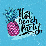 Poster hot beach party with pink pineapple on a blue background. Design elements. Vector illustration. Poster hot beach party with pink pineapple on blue Stock Illustration