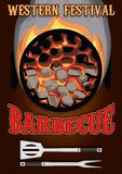 Poster with hot coals for barbecue. Retro poster with hot coals for barbecue Stock Photography