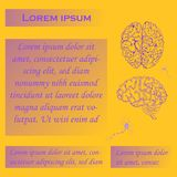 Poster for Human Brain Studies. Poster for Seminars or Workshops with Four Gradient Blocks for Text, Hand Drawn Brain and Neurons. Human Anatomy Vector Royalty Free Stock Photos