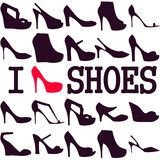Poster I love shoes Stock Photo