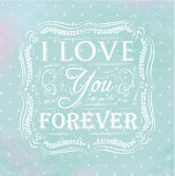 Poster  i love you forever. Blue. Poster in an openwork style - i love you forever on a blue background with transparent watercolor hearts Stock Photos