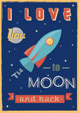 Poster: I Love You To The Moon And Back. Stock Image