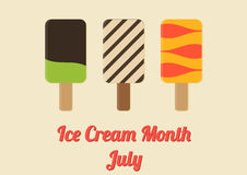 Poster for Ice Cream Month - July Royalty Free Stock Photos
