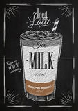 Poster iced latte chalk. Poster coffee iced latte in vintage style drawing with chalk on the blackboard Royalty Free Stock Image