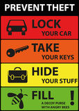 Poster Illustration Graphic Vector Prevent Theft. For different purpose Stock Photo