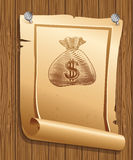 Poster with illustration of money bag Royalty Free Stock Photography