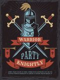 Poster with illustrations of medieval warrior helmet and swords. Weapon and armor knight, history party in ancient warrior style vector Royalty Free Stock Photos