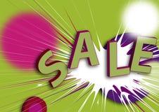 Poster/ilustração da venda no verde, no vermelho e no viole Fotografia de Stock Royalty Free