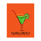 Poster with the image of Margarita with lime on orange background Stock Photos