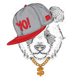 The poster with the image panda portrait in hip-hop hat. Vector Stock Images