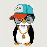 The poster with the image penguin portrait in hip-hop hat. Vector illustration. Stock Photos