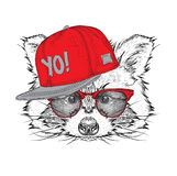The poster with the image raccoon portrait in hip-hop hat. Vector illustration. Stock Image