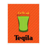 Poster with the image of tequila on orange background Stock Photo
