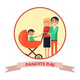 Poster with Inscription Dedicated to Parents Day Stock Photography