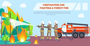 Poster of Firefighters Fighting Forest Fire. Poster with inscription depicting firefighters. Vector illustration of brave firemen trying to extinguish forest Stock Photography