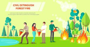 Poster of Civil Extinguishing Forest Fire vector illustration