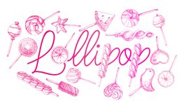 The poster with the inscription lollipop. Hand drawn different sweets. Vector illustration of a sketch style.  Stock Photo