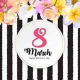 Poster International Happy Women`s Day 8 March Floral Greeting c. Ard Vector Illustration EPS10 Royalty Free Stock Photos