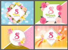 Poster International Happy Women s Day 8 March Floral Greeting card COllection Set Vector Illustration. EPS10 Royalty Free Stock Images