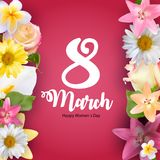 Poster International Happy Women`s Day 8 March Floral Greeting card Vector Illustration. EPS10 royalty free illustration