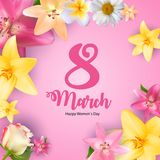 Poster International Happy Women`s Day 8 March Floral Greeting card Vector Illustration. EPS10 vector illustration