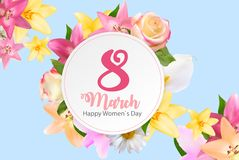 Poster International Happy Women`s Day 8 March Floral Greeting c. Ard Vector Illustration EPS10r Royalty Free Stock Image