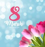 Poster International Happy Women`s Day 8 March Floral. Greeting card Vector Illustration EPS10r Royalty Free Stock Images