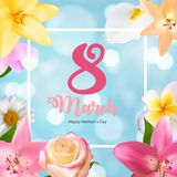 Poster International Happy Women`s Day 8 March Floral. Greeting card Vector Illustration EPS10r Stock Image