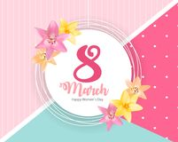 Poster International Happy Women s Day 8 March Floral Greeting card Vector Illustration. EPS10 Royalty Free Stock Photography