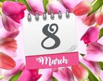 Poster International Happy Women`s Day 8 March Floral Greeting card Vector Illustration. EPS10 Royalty Free Stock Photography
