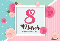 Poster International Happy Women s Day 8 March Floral Greeting card Vector Illustration. EPS10 Stock Photo
