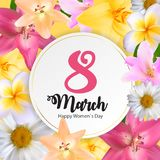 Poster International Happy Women`s Day 8 March Floral Greeting. Card Vector Illustration EPS10 Stock Photos
