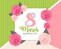 Poster International Happy Women`s Day 8 March Floral. Greeting card Vector Illustration EPS10r Royalty Free Stock Photo