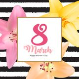 Poster International Happy Women`s Day 8 March Floral. Greeting card Vector Illustration EPS10r Stock Photos
