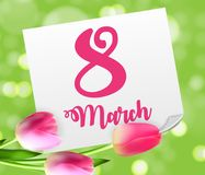 Poster International Happy Women`s Day 8 March Floral. Greeting card Vector Illustration EPS10 Stock Photo