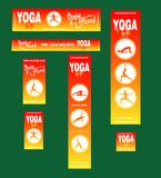 Poster of the international yoga festival. Set of posters and bunners of the yoga festival or for fleshmob, fitness training, sport event. with handwritten Royalty Free Stock Images