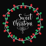 Sweet Christmas holiday  print.  Winter card or poster design. Poster, invitation, greeting card or t-shirt. Vector calligraphy design. Christmas holiday  print Royalty Free Stock Images