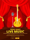 Poster invitation at live music concert. Vector picture of retro microphone and acoustic guitar. Concert poster invitation to live music illustration Royalty Free Stock Image
