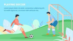 Poster Invitation Playing Soccer Lettering Flat. stock illustration