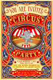 Poster Invite for Circus Party with Elephnant Stock Image
