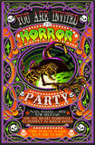 Poster Invite for Halloween Party with Witch Stock Photography
