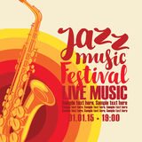 Poster for jazz festival live music with saxophone. Music concert poster for a jazz festival live music with the image of a saxophone on the colored background Stock Photography