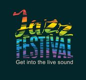 Poster for jazz festival with rainbow colors text. Vector banner for a jazz festival with rainbow colors text on black background Stock Photos