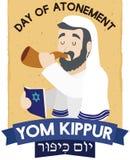Jewish Senior Man Blowing Shofar and Praying for Yom Kippur, Vector Illustration. Poster with a Jewish elder man blowing a Shofar horn and holding a holy book Royalty Free Stock Photos